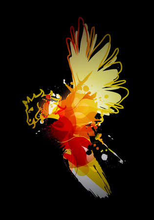 reminding: Abstract colorful splash illustration reminding bird with horse head on dark background.