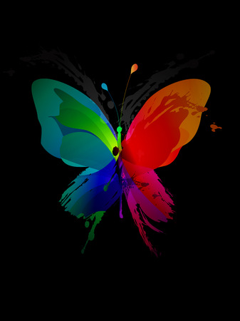 colorful background: Colorful butterfly created from splash and colored objects. Illustration