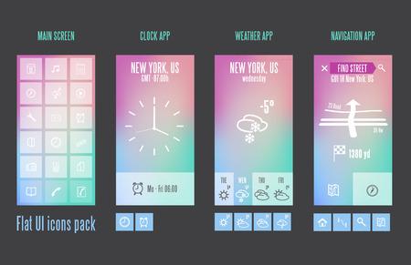 scrollbar: Flat design template for mobile devices - Vector Illustration Illustration