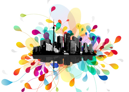 floating: Abstract sky illustration with floating city scape.