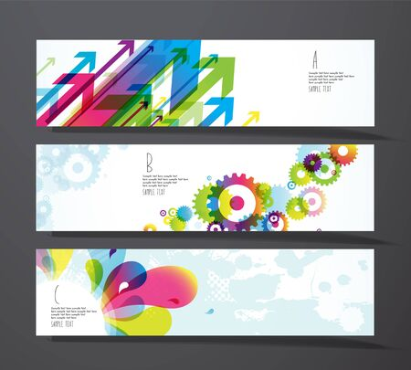 toothed: Set of abstract colorful splash, toothed wheels and arrows gift cards.