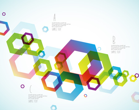 abstract circles: Abstract colored background with hexagon objects.