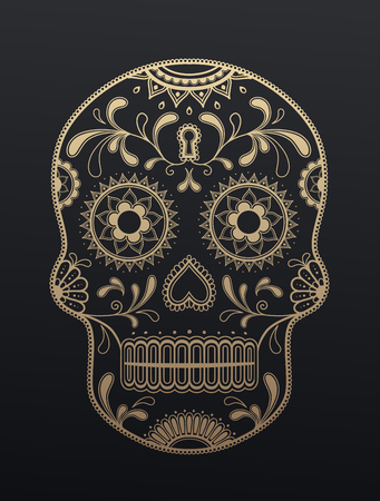 dead leaf: Sugar Skull day of the dead. Illustration