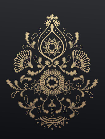Golden floral paisley ornament. Ilustracja