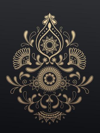 Gouden bloemen paisley ornament. Stock Illustratie