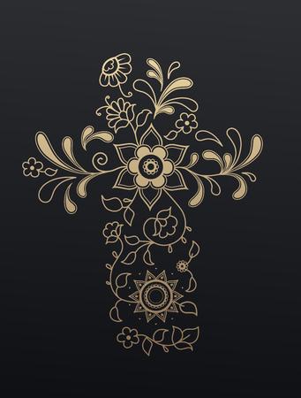 cristianismo: Cristianismo cruz floral de oro.