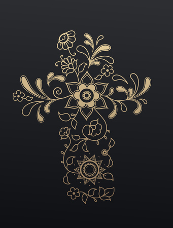 christianity: Golden floral Christianity cross.