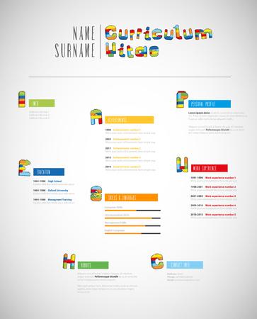 Creative brick based curriculum vitae template. Vektorové ilustrace