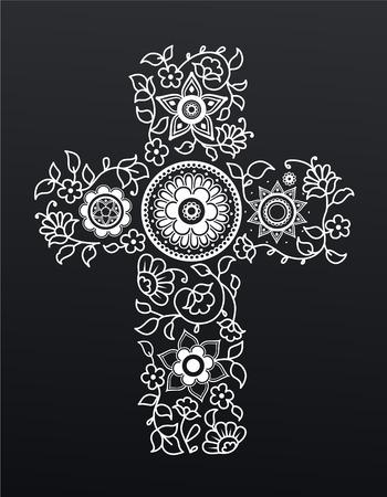 cristianismo: Floral blanco cruz cristianismo sobre fondo negro.