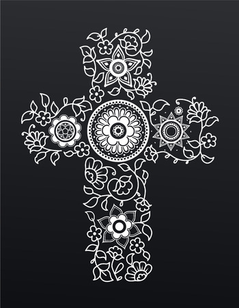christianity: White floral Christianity cross on black background.