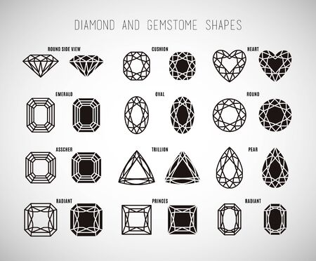 gemstone: Diamond and gemstone shape set. Illustration