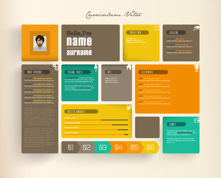job descriptions: Creative resume template with tiles.
