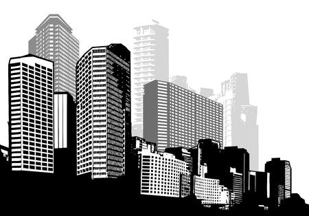 흑백 파노라마 도시입니다. 벡터 아트 일러스트