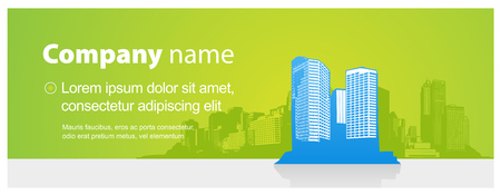 net bar: Header template with city and place for your text. Illustration