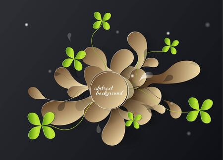 four leaf clovers: Abstract 3d paper  background with golden leafs and four leaf clovers. Illustration