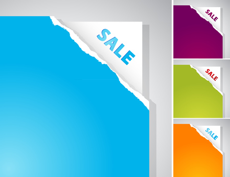 web background: Set of torn papers with Sale sign.