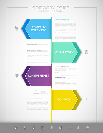 guideline: Company infographic overview design template with colorful labels.