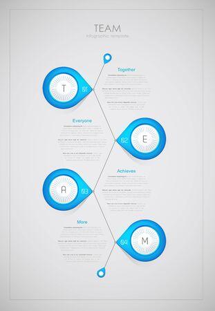 Equipo - plantilla de infografía (junto, cada uno, alcanza, más).