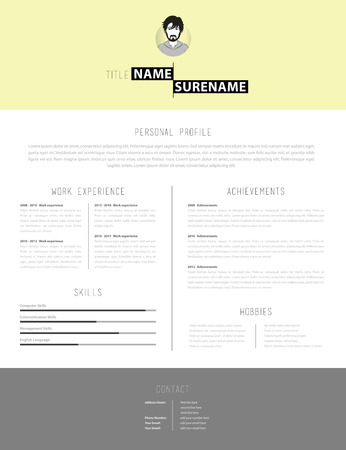 personal profile: Simple but creative cv template with yellow background.