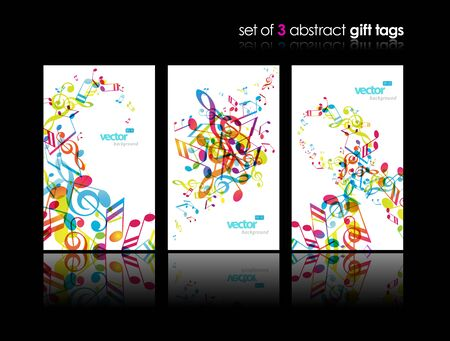 abstract music: Set of abstract colorful music tags. Illustration