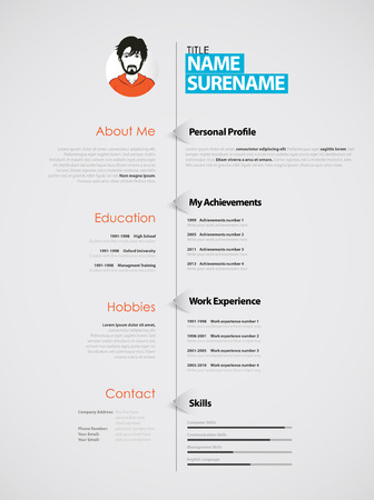 graphic design: Creative CV template with paper stripes. Illustration