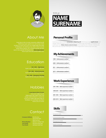 personal profile: Creative CV template with paper stripes. Illustration