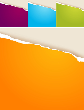 color separation: 4 colored vector ripped papers. Illustration