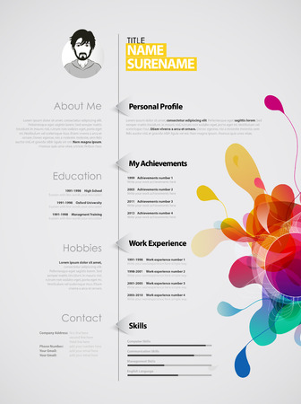 Creative, color rich CV  resume template.