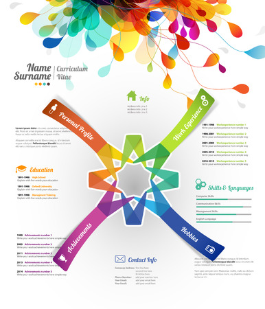 work experience: Creative, color rich CV  resume template with paper stickers and flower petals at the top. Illustration