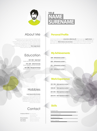 vitae: Creative, color rich CV  resume template with grey abstract splash.