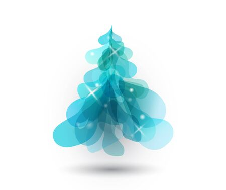 white christmas tree: Christmas tree with blurred lights on white background.