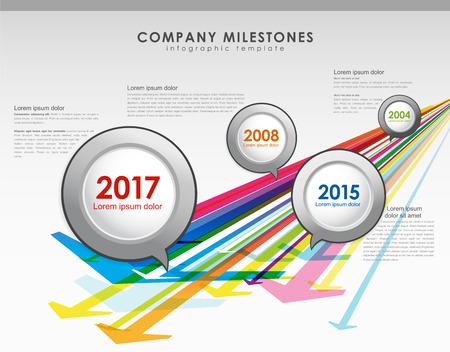 milestones: Infographic company milestones timeline vector template with arrows.