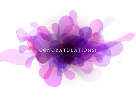 Abstract background with transparent bubbles and congratulations quotation. Ilustrace