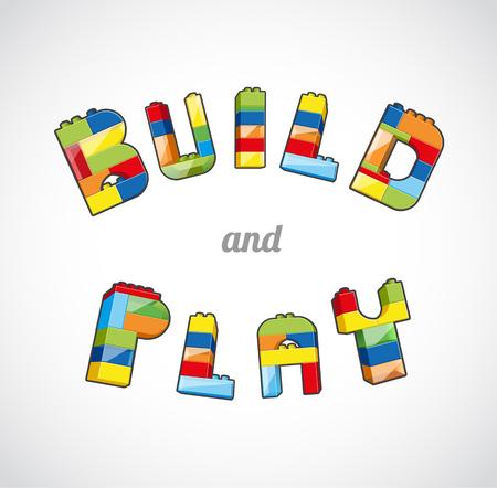 slogan: Construir y jugar plantilla basada lema de ladrillo. Vectores
