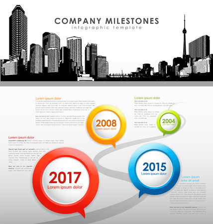 overview: Infographic company milestones timeline vector template with cityscape in the header.