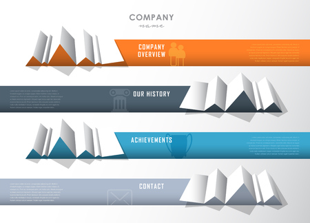 overview: Company infographic overview design template with four paper stripes and icons.