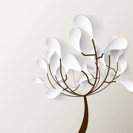 contents: Autumn illustration with tree and 3D leafs.