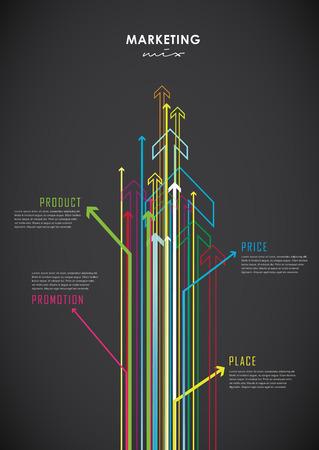 marketing mix: Marketing mix business infographic background with colorful arrows. Illustration