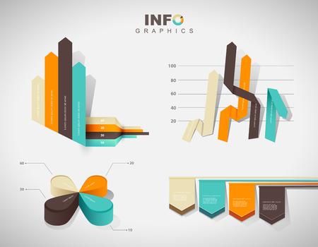 grafica de barras: Conjunto de diagramas de gráficos y gráficas de infografía de diseño plano - en cuatro colores.