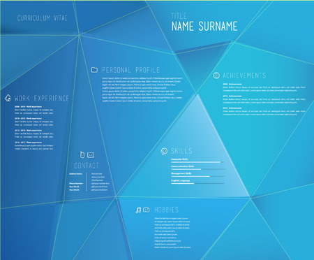 job descriptions: Creative cv template with 3d effect on blue background. Illustration