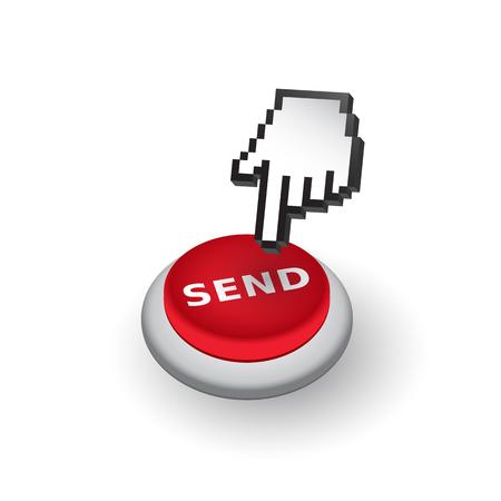 klik: Red 'Stuur' drukknop teken embleem illustratie. Hand met het aanraken van een knop of wijzende vinger.