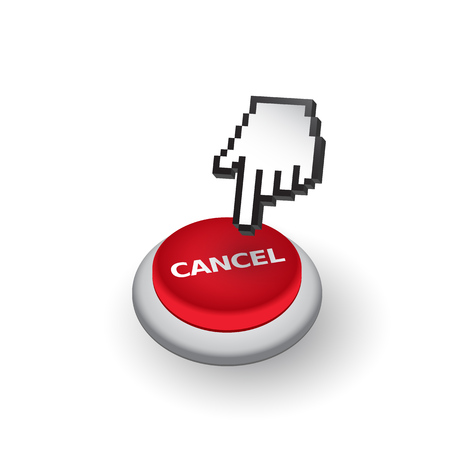 fingerprinting: Red Cancel push button sign emblem illustration. Hand with touching a button or pointing finger.