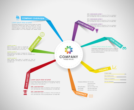 Company infographic overview design template with paper stripes and icons - light version.