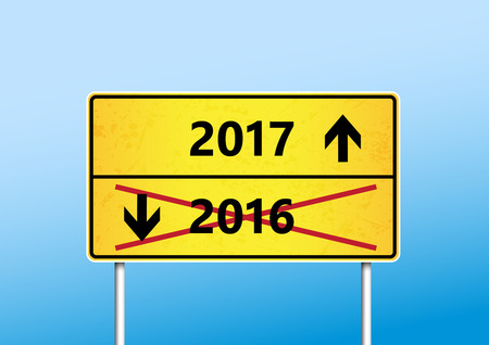 upcoming: Yellow traffic sign with upcoming 2017 and cross out 2016 year with arrows. Illustration