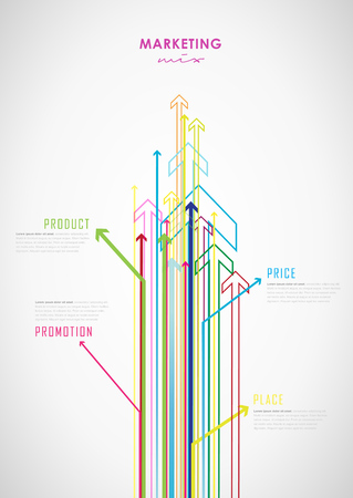 4p: Marketing mix business infographic background with colorful arrows - light version.