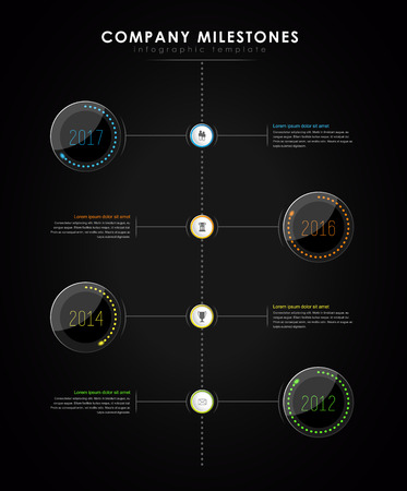 led light: Infographic company milestones timeline vector template with led light effect - dark version