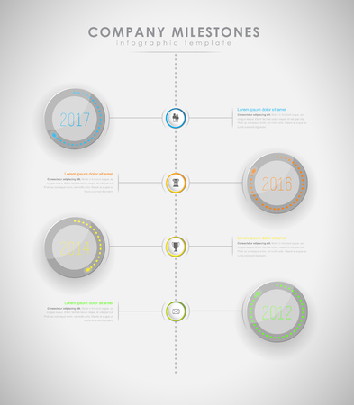 led light: Infographic company milestones timeline vector template with led light effect - light version Illustration