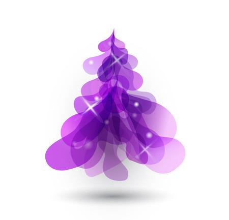 christmas tree purple: Purple Christmas tree with blurred lights on white background. Illustration
