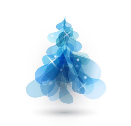 Arbre de Noël bleu avec des lumières brouillées sur fond blanc. Vecteurs