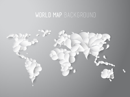 top of the world: World map illustration created of leafs with all continents and text at the top. Illustration